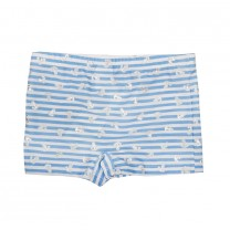 White and Blue Striped Anchor Print Bond