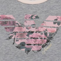 Grey Pink Floral Logo Print Top