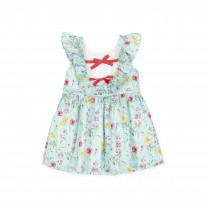 Turquoise All Over Flower Ruffle Dress