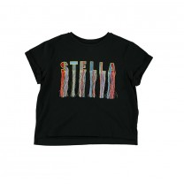 Black Logo Fringe T-Shirt