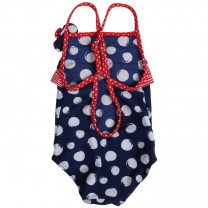 Navy & Red Polkadot Swimsuit