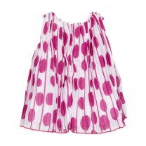Fuchsia Polkadot Pleated Dress