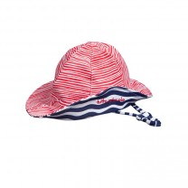 Navy Blue & Red Striped Sun Hat
