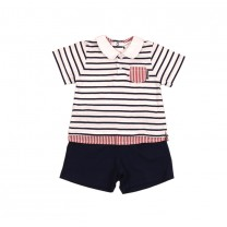 White and Navy Blue Striped Polo Shirt Two Pieces Set