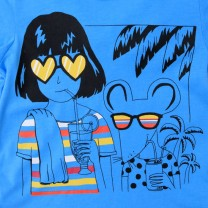 Blue Girl and Mouse Print T-Shirt