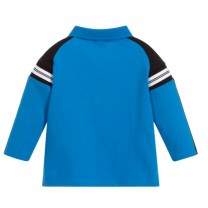Blue and Black Long Sleeves Polo Shirt