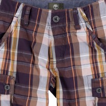 Brown Check Cargo Shorts