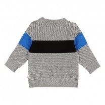 Grey Contrast Knit Jumper