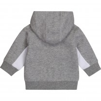 Grey and White Hooded Jacket