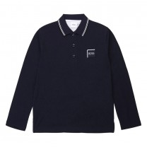 Navy Embroidered Logo Long-sleeve Polo Shirt