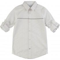 White Logo Pattern Formal Shirt