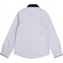 White Logo Striped Formal Shirt