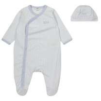 Blue All-Over Logo Babysuit Set