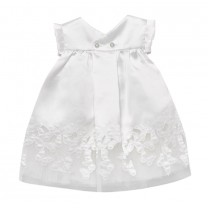 White Flared Satin Bow Dress
