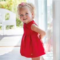 Red Flared Satin Bow Dress