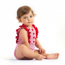 Red Patterned Romper