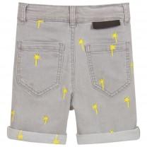Grey Palm Cotton Denim Shorts