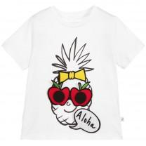 White Pineapple Cotton Badge T-Shirt