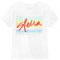 White Cotton Girls Logo T-Shirt