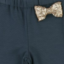 Grey Sequin Bow & Chain Sweatpants
