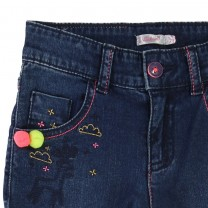 Denim Trouser with Pom-pom