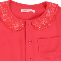 Fuchsia Red Sequin Collar Shirt