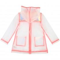 Transparent Raincoat with Pink Trim