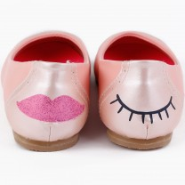 Peach Eye & Lips Flat Shoes