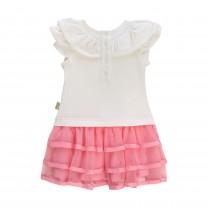 White and Pink Ruffle Dress