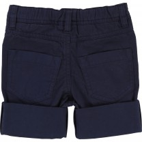 Navy Blue Patched Rolled-up Denim Shorts