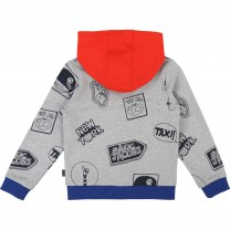 Boys Grey Cotton Zip-Up Top