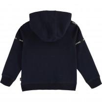 Blue Cotton Zip-Up Top