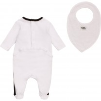 White Iconic Logo Babysuit & Bib Set