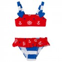Red Sailor Multi Coloured Frills Bikini