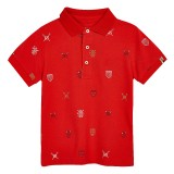Red Logo Print Polo Shirt