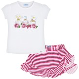 Perfumes Print T-Shirt and Skirt Set