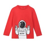 Boys Red Space Man Cotton Top