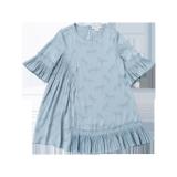 Blue Horse Printed Ruffle Dress