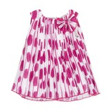 Fuchsia Polkadot Pleated Dress
