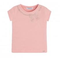 Pink Bow Imitation Rhinestone Embellishment T-Shirt