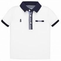 Gingham Details White Polo Shirt