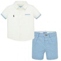 Striped Linen Shirt-Shorts Set