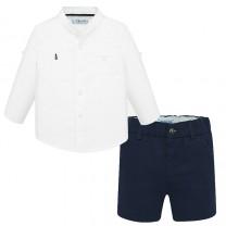 Long Sleeve Shirt-Shorts Set