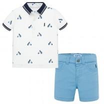 White Printed Polo-Shorts Set