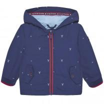 Navy Blue Printed Windbreaker Jacket