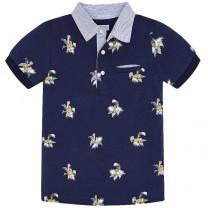 Navy Tiger Print Polo Shirt