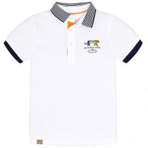 White Tiger Print Polo Shirt