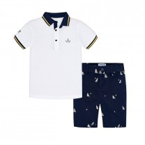 White Polo-Printed Bermuda Pants Set