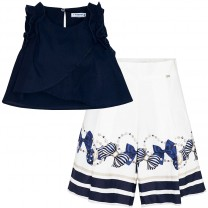 Navy Blue Top and Culottes