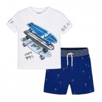Skateboard Printed T-shirt with Navy Blue Cotton Shorts Set